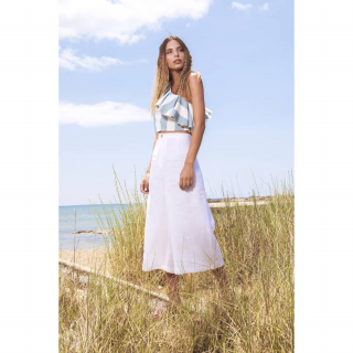 Find the perfect style for this summer!! ☆Top one shoulder with ruffles  ☆Linen white zip culotte Shop online now!! https://www.espoir.gr/