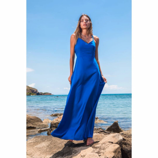 Maxi Blue Dress With Open Back Find our summer collection here 👉https://www.espoir.gr/